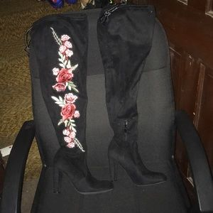 Floral Over the Knee Boots